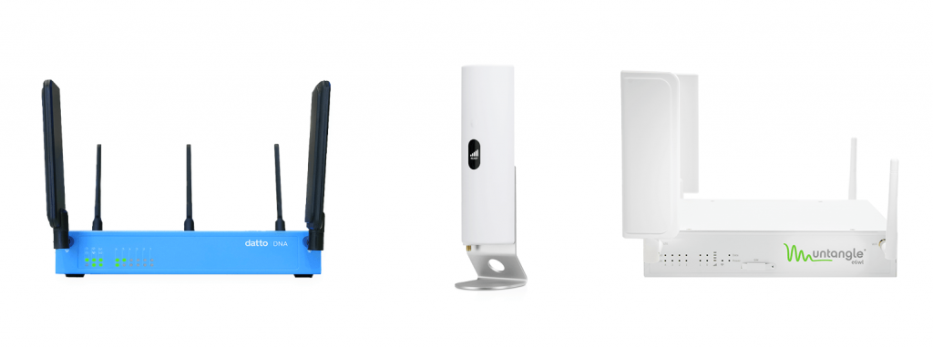 From left to right, pictures of the Datto DNA, Ubiquiti Unifi LTE Gateway, and Untangle e6wl appliance.
